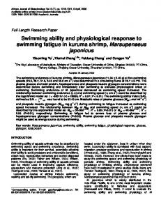 Swimming ability and physiological response to swimming fatigue in ...
