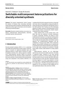 Switchable multicomponent heterocyclizations for ...