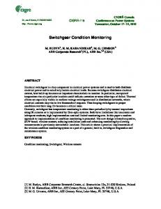 Switchgear Condition Monitoring (PDF Download Available)