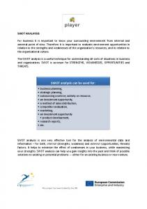 SWOT analysis can be used for: