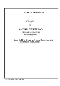 SYLLABI OF MASTER OF PHYSIOTHERAPY C ...