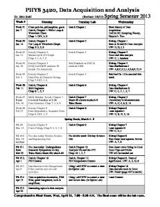 Syllabus and Course Schedule