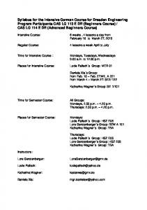 Syllabus for the Intensive German Course for ... - Boston University