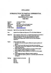 SYLLABUS INTRODUCTION TO PARTIAL DIFFERENTIAL ...