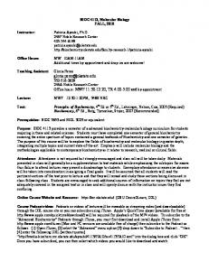 Syllabus - OSU Biochemistry and Molecular Biology - Oklahoma ...