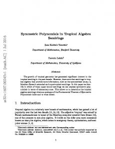 Symmetric Polynomials in Tropical Algebra Semirings