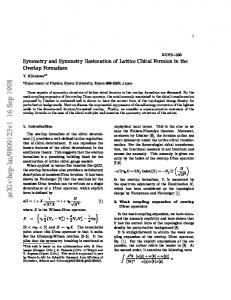 Symmetry and Symmetry Restoration of Lattice Chiral Fermion in the ...
