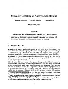 Symmetry Breaking in Anonymous Networks - Semantic Scholar