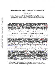 Symmetry in variational principles and applications