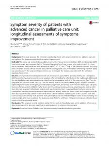 Symptom severity of patients with advanced cancer in palliative care ...