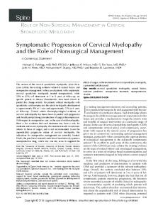 Symptomatic Progression of Cervical Myelopathy and