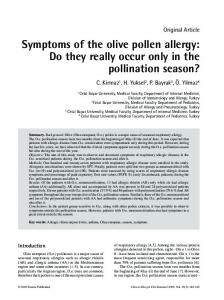 Symptoms of the olive pollen allergy - CiteSeerX