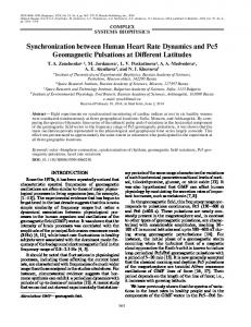 Synchronization between Human Heart Rate ... - Springer Link