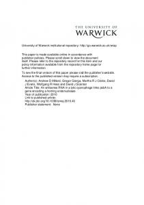 Synechococcus - Warwick WRAP - University of Warwick
