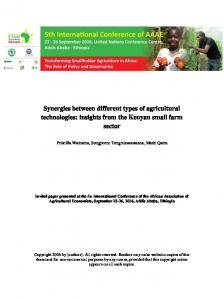 Synergies between different types of agricultural ... - AgEcon Search