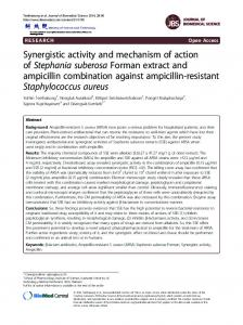 Synergistic activity and mechanism of action of ... - Semantic Scholar
