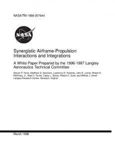 Synergistic Airframe-Propulsion Interactions and ... - CiteSeerX