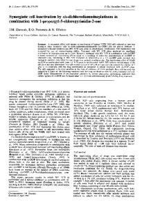Synergistic cell inactivation by cis ... - BioMedSearch
