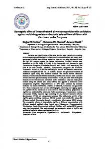 Synergistic effect of biosynthesized silver nanoparticles with antibiotics ...