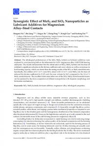 Synergistic Effect of MoS2 and SiO2 Nanoparticles ... - Semantic Scholar