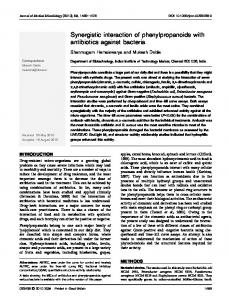 Synergistic interaction of phenylpropanoids with antibiotics against ...
