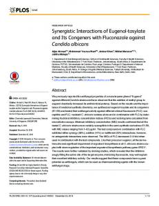 Synergistic Interactions of Eugenol-tosylate and Its ... - Semantic Scholar