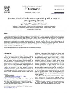 Syntactic systematicity in sentence processing with a recurrent self ...