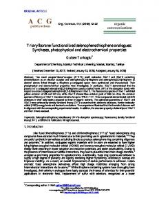 Syntheses, photophysical and electrochemical