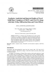 Synthesis, Analytical and Spectral Studies of Novel Schiff Base