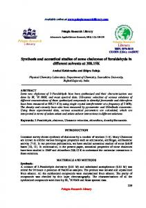 Synthesis and acoustical studies of some chalcones of ... - iMedPub