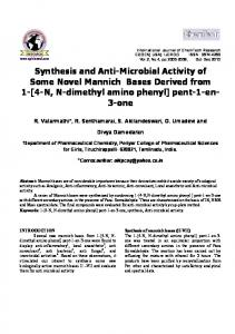 Synthesis and Anti-Microbial Activity of Some Novel Mannich Bases