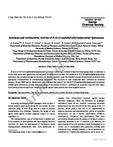 Synthesis and Antibacterial Activity of N-[2-(2-naphthyl) ethyl ...