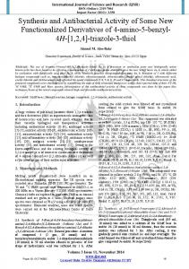 Synthesis and Antibacterial Activity of Some New Functionalized ...