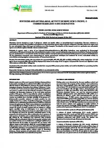 synthesis and antimalarial activity of some new 3