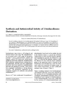 Synthesis and Antimicrobial Activity of 5-Imidazolinone Derivatives