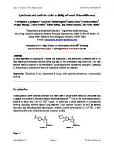Synthesis and antimicrobial activity of novel thiazolidinones - Arkivoc