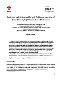 Synthesis and Antimicrobial and Antitumor Activity of ... - DergiPark
