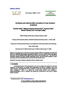 Synthesis and antimicrobial evaluation of urea ... - ACG Publications