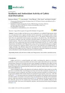 Synthesis and Antioxidant Activity of Caffeic Acid Derivatives - MDPI