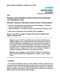 Synthesis and Antioxidant Activity of Some New Coumarinyl-1, 3 ...