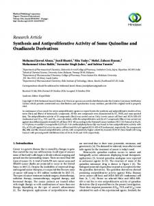 Synthesis and Antiproliferative Activity of Some Quinoline and ...