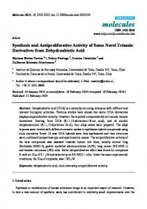 Synthesis and Antiproliferative Activity of Some
