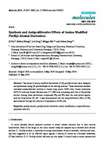 Synthesis and Antiproliferative Effects of Amino