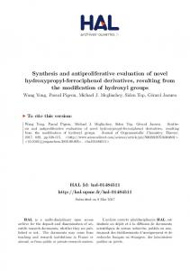 Synthesis and antiproliferative evaluation of novel hydroxypropyl ...