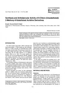 Synthesis and Antitubercular Activity of 6-Chloro