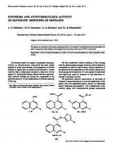 synthesis and antituberculous activity of quinoline isosteres of isoniazid