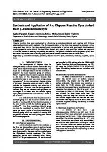 Synthesis and Application of Azo Disperse Reactive Dyes derived