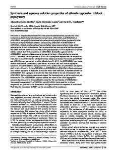 Synthesis and aqueous solution properties of stimuli