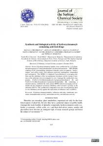 Synthesis and biological activity of hydroxycinnamoyl-containing ...