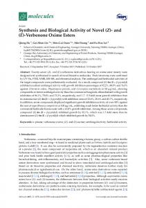 Synthesis and Biological Activity of Novel (Z)-and (E)-Verbenone